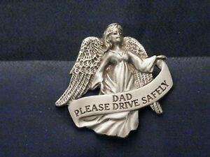 Pewter Angel Visor Clip For Your Car - DAD, Please Drive Safely, KVC141DAD