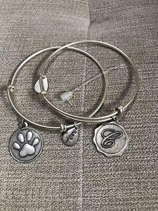 "Bella Ryann Expandable Bracelets With ""c"" Charm & ""paw Print"" Charm"