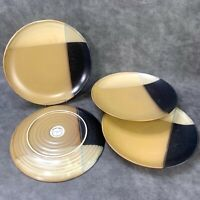 """LOT of 4 SANGO 5022 Gold Dust Black 10 3/4"""" DINNER PLATES Discontinued"""