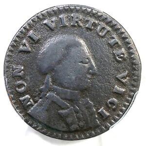 1786 PCGS F Details NON VI VIRTUE VICI Sm Head New York Copper Colonial Coin