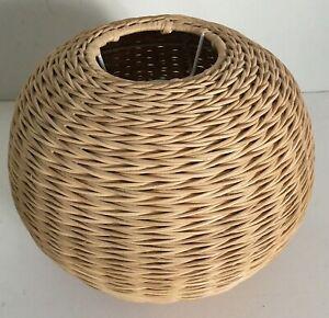 Vintage Woven Rattan Wicker Lamp Shade Ceiling Ball Globe Retro Diameter 25cm