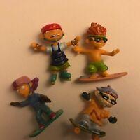"Nickelodeon Rocket Power Mini Plastic Figures Lot 2"" Skateboard Snowboard"