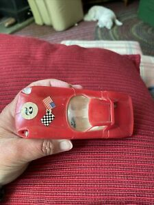 old Vintage Zee Toys Plastic Ferrari 250 No. 2055 Red Race toy Car 63 Friction