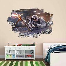 Francotirador Soldado Ejército Militar Guerra 3D Pared Adhesivo Mural Calcomanía Cuarto de Niños Chicos CP60