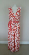Stunning Monsoon Coral Pink White Floral Fleur Maxi Dress Size 18 BNWT Sash Belt