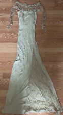BRAND NEW JIKI MONTE CARLO DRESS LACE GREEN MADE IN FRANCE SIZE 40 LONG GOWN