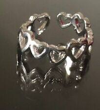 Finger or Toe Ring New All Around Hearts Silver Plated Adjustable