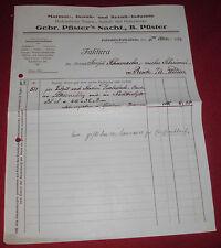 rechnung alt antik gebr. pfister´s nachf. b pfister friedrichshafen 1924 papier