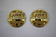 Earrings Round Dome Diamond Cut Filigree 10K Yellow White Gold Last Supper