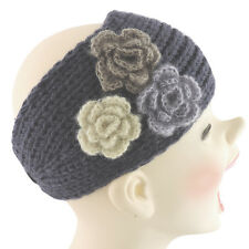 Silver Fever® Women Chunky Knitted Head Hair Band Wrap Charcoal with 3 Flowers