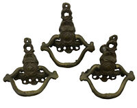 Set of 3 Vintage MCM Ornate Solid Brass Drawer Pulls #4599 / #4598 Replacement