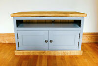 Painted Rustic Handmade Plank TV / Media Unit.  Any Size Made. Any F&B Colour.