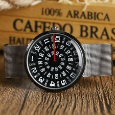 Black face Jump Hour Direct Read Retro 1960s Style Watch Men Paidu StainlessStee