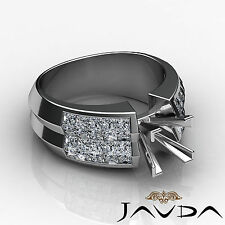 Diamond Wedding Ring Platinum 950 Princess Invisible Round Semi Mount 1.72Ct