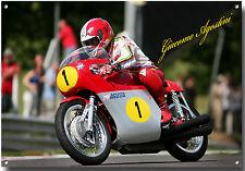 Giacomo AGOSTINI METAL SIGN, WORLD CHAMPION Grand Prix moto ROAD RACER.