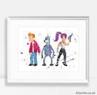 Futurama Print Poster Watercolour Framed Canvas Wall Art Gift Cartoon Tv