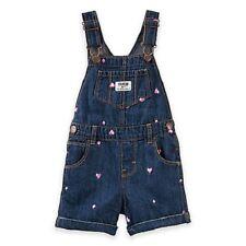 OshKosh Blue Denim Pink Heart Shortalls Short Overalls Infant Baby Girl 6 Months