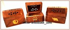 3 ASST WOODEN SMALL COFFIN BOX INCENSE BURNER CONES FREE SHIPPING