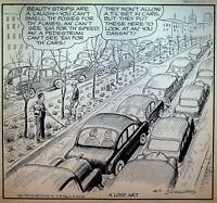 Out Our Way JR Williams Original Comic Strip Art April 7 1955 Car Beauty Strip