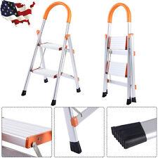 2 Steps 330 lbs Load Capacity Non-slip Aluminum Ladder Folding Platform Stool US