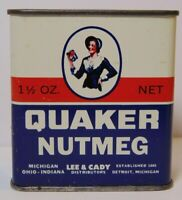 Old Vintage 1950s QUAKER SPICE GRAPHIC SPICE TIN 1 1/2 OZ LEE DETROIT MICHIGAN