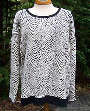 Liz Claiborne Zebra Crop Top Blouse Shirt Sweatshirt Sweater Size XL Extra Large