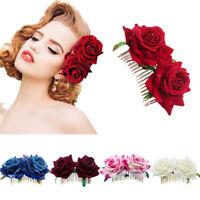 Eg _ Sposa Boho Fiore di Rosa Pettine Clip Capelli Forcina Festa Matrimonio