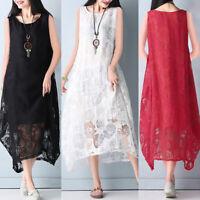 ZANZEA UK Women Sleeveless Summer Lace Floral Tunic Baggy Kaftan Long Maxi Dress