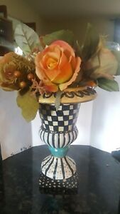Hand painted Mackenzie Childs inspired pedestal resin vase & silk roses