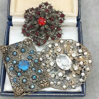 Job Lot - 3 X Vintage Art Deco Czech Filigree Brooches Red, Blue & Diamante