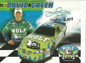 David Green &(Daughter Kaylie) 8 1/2 x 11 Autographed Busch Series Postcard L@@K
