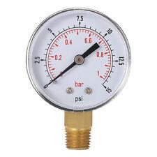 Mini Low Pressure Gauge For Fuel Air Oil Or Water 50mm 0-15 PSI 0-1 Bar OK
