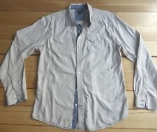 Sting Shirt, Men's XL, Ivory & Blue Denim, Button Down, Long Sleeve Casual - EUC