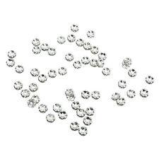 Lotto Stock 50 Perline Perle strass a fiore argento 6mm X0C3