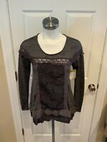 Meadow Rue Anthropologie Gray Striped Top w/ Floral Lace Body, Size XS
