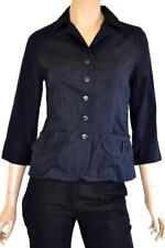 COLORADO SZ S (8-10) WOMENS Dark Blue Textured Striped 3/4 Sleeve Tailored Shirt