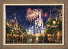 Thomas Kinkade Studios Main Street USA 28 x 42 LE G/P Canvas Framed Disney World