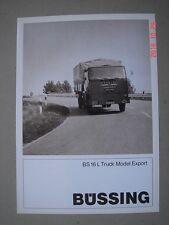 BÜSSING  BS 16 L  Truck model Export  brochure / Prospekt  09-1967.