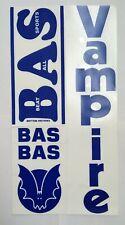 Bas Vampire Vintage Blue Metallic Cricket Bat Sticker (Top Quality)