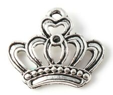 10 ANTIQUE SILVER FILIGREE PRINCESS CROWN CHARMS 21mm Earrings~Wine Glass (41A)