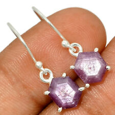 Natural Faceted Pink Sapphire 925 Sterling Silver Earrings Jewelry AE153489