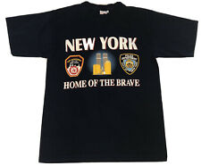 Vintage New York Home Of The Brave NYPD FDNY September 11th Towers Shirt Size M