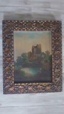 Antique 19th Century Arts & Crafts Woven Oil Painting Frame w/Applied Leaves