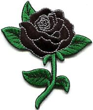 Black rose tattoo biker love retro embroidered applique iron-on patch new S-1212