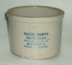 Red Wing Stoneware advertising Crock Myhre's Rolette Dunseith North Dakota