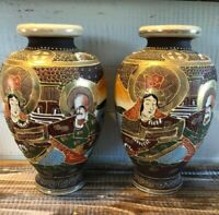 "Pair Set 2 Matching 10"" Japanese Satsuma Vases Gilded Moriage Gold Women Signed"