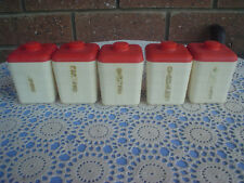 Retro Duperite Spice Canisters Set Of 5 1960's Bakelite