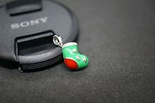 18K Wite Gold Diamond Christmas Stocking Pendant Enamel Green and Red