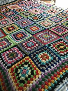New Handmade Large  Vintage Style Crocheted Granny Blanket 68 Inches Squared