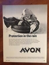 ~VINTAGE~ 1967 Original Print Ad AVON Cycle & Scooter TIRES ~Protection in Rain~